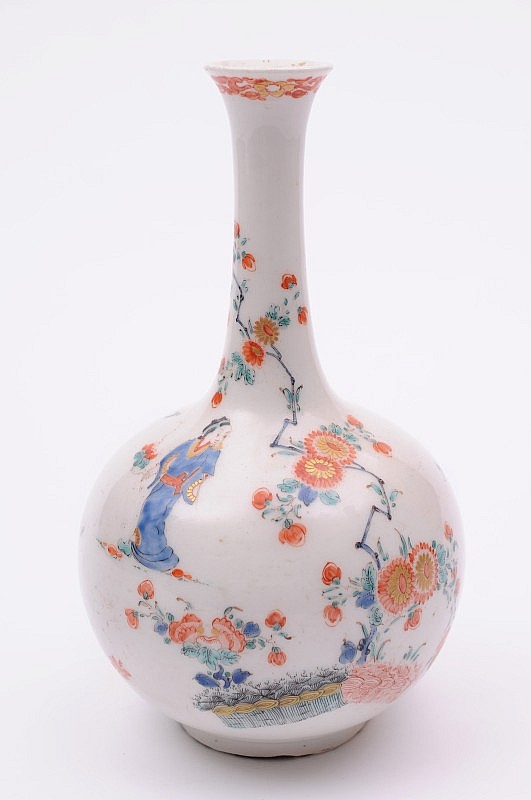 A Bow bottle vase the spherical body with slender