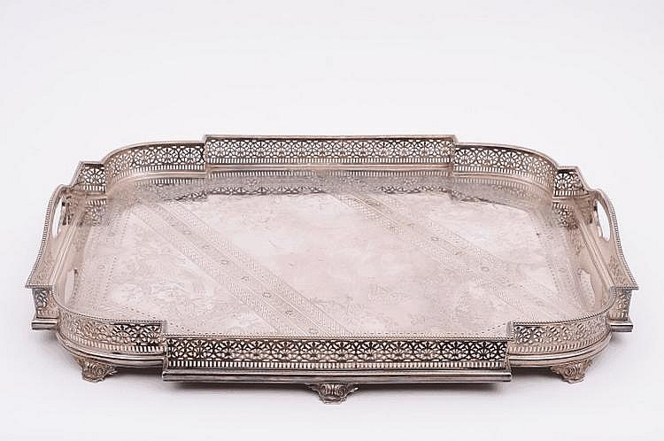A large electro plated serving tray of shaped
