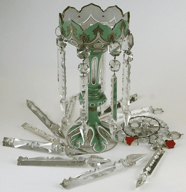 A green and white Bohemian glass lustre: with