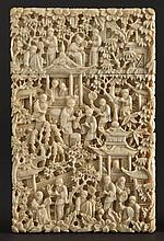 A Chinese Canton ivory card case: carved in relief