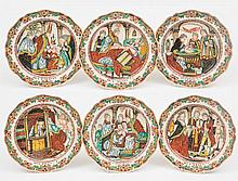 A set of six Dutch-decorated English creamware