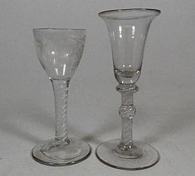 A Dutch soda glass:, air twist stem wine goblet