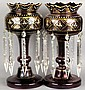 A pair of Victorian ruby glass and gilt decorated