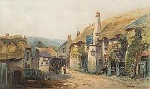 Alfred Leyman [1856-1933]- The Ship Inn, Porlock,  wagon, horse and figures in the street in the foreground:- signed bottom right watercolour 26.5 x 4