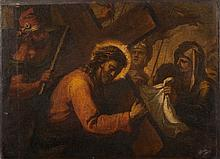 North Italian School [17th/18th Century]- A Station of the Cross:- oil on canvas 50 x 68cm, unframed.