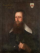 English School 17th century- Portrait of a gentleman:- bust-length with dark hair and red beard inscribed aetatis suae 56 and dated 1644 oil on canvas