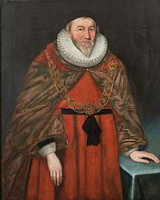 English School late 17th century- Portrait of a Lord Chief Justice  said to be Sir Matthew Hale[1609-1676]:- oil on canvas 117 x 94cm