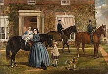 English Provincial School 19th century- A family portrait; mother and daughter and three sons on ponies in front of the family house:- oil on canvas 9