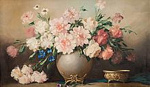 F. Kormendy [20th century]- Still life of pink roses in a vase:- signed oil on canvas 54 x 95cm.