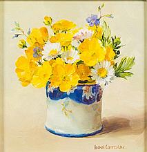 * Anne Cotterill [1933-2010]-  Buttercup and Daisies; Scottish Thistle:-  a pair, both signed oils on board each 11 x 11cm. [2]  * With Thompsons Gall