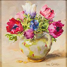 * Anne Cotterill [1933-2010]- Anemones:- signed oil on board 14 x 14cm.  *Notes.   With Thompsons Gallery, Dover St., London.