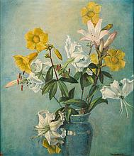 * Garnet Ruskin Wolesley [1884-1967]- Lilies:- signed bottom right further signed and inscribed on the artist's label attached to the reverse of the f