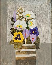 * Mary Fedden [1915-2012]- Spring flowers, crocus and pansies in a pot:- signed and dated Fedden 1995 bottom left oil on board 24.5 x 19.5cm.  * Prove