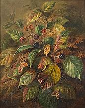 Albert Durer Lucas [1828-1918]- Blackberries and a Silver Y moth:- signed and dated 1880 bottom right oil on canvas 24 x 19cm.