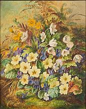 Albert Durer Lucas [1828-1918]- Primroses and violets:- signed and dated A D Lucas 1880 bottom left oil on canvas