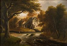John Wallace Tucker [1808-1869]- Dunsford Mill on the River Teign:- signed, inscribed and dated Exeter 1843 on the reverse oil on board 24 x 35cm.