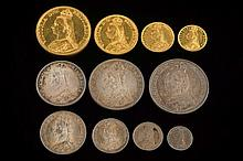 A Queen Victoria 1887 eleven coin specimen set: comprising  gold five pounds, two pounds, sovereign, half-sovereign, silver crown, half-crown, double