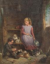 E. Mann [19th Century] Feeding the Rabbits; Homework Time:- a pair,  both signed and dated E.MANN / 83  oils on board, each 24 x 19cm.