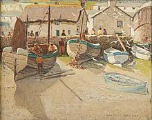 * Charles Walter Harvey [1895-1979]- Fishing boats at Sennen:- signed bottom right oil on canvas 39.5 x 50cm.