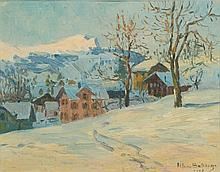 Herbert Ivan Babbage [1875 New Zealand - 1916]- Winter snow scene:- signed and dated 1918 oil on canvas board 25 x 32cm.