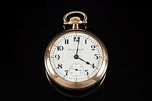 Hampden Watch Co, a keyless Railway grade pocket watch: the white enamel dial having black Arabic numeals, red outer five minute numerals, a subsidiar