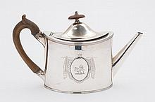 A George III silver oval teapot, maker Peter & Ann Bateman London, 1794:  initialled, of oval outline with reeded borders, 13.89ozs.