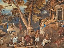 Anglo/Indian School 19th Century -  A priest and figures at a Hindu temple:- watercolour 42 x 54cm.