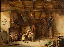 Nicholas Condy [1799-1957]- A cottage interior; father and daughter at a table, mother and son at the fireplace:- signed and dated N.Condy 1850 bottom