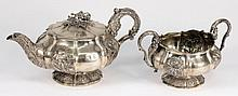 A George IV silver teapot, maker William Eley II, London, 1824: initialled, of circular lobed form with embossed floral decoration, on a floral decora