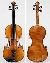 A violin by Fritz Arnold Bruckner:, the single piece back of narrow flame and curl, the varnish of a light honey brown, bears label Fritz Arnold Bruck