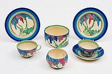A group of Clarice Cliff Bizarre pottery: in the Rudyard pattern, comprising two tea plates, two cups, one saucer, sugar bowl and a circular jar [devo