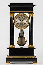 Gounouilhou et Francois a Geneve, an ebonised portico clock:, the eight-day duration movement striking the hours and half-hours on a bell with an outs