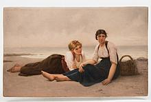 A K.P.M. (Berlin) porcelain plaque: enamelled after the original by Francois Alfred Delobbe entitled  'Duex filles de l'Océan' depicting two barefoot