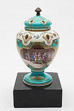 A rare Sèvres pot-pourri 'Pompadour' vase and cover: of oviform with six pierced apertures edged with moulded foliage to the shoulder and cover, paint
