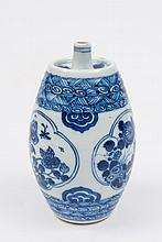 A Chinese blue and white spirit flask: of barrel form with slender spout, painted with three panels of flowering plants, rockwork and insects between