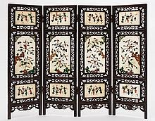 A late 19th century Chinese four-fold table top screen: each section with three opaque and applied coloured hardstone panels depicting squirrels and b