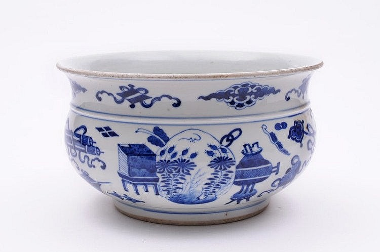 A Chinese porcelain censer of bombe form with