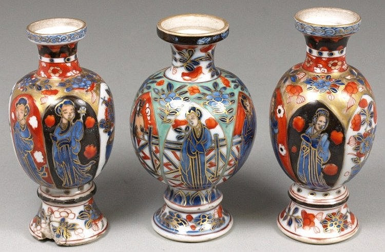 Three small Chinese porcelain vases with European