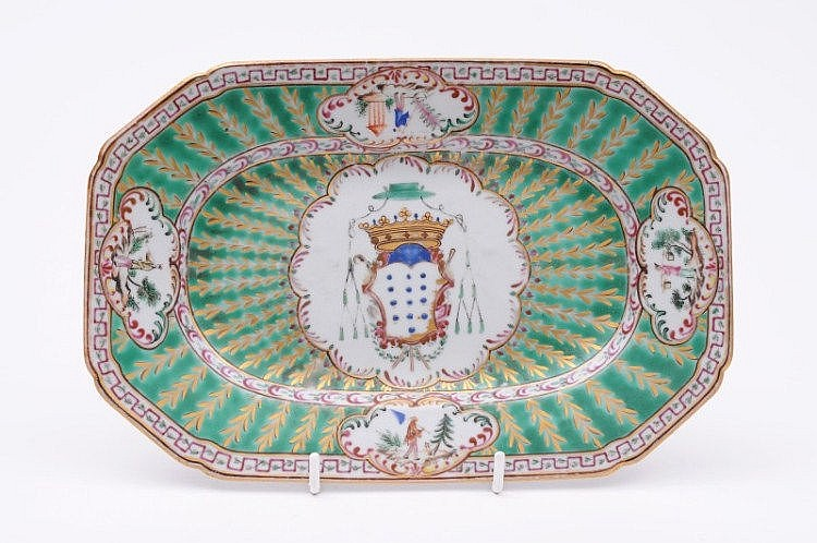 A Chinese porcelain armorial dish, for the