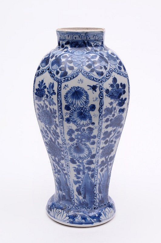 A Chinese porcelain vase of octagonal baluster