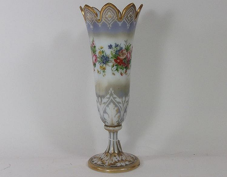 A Victorian milk glass vase: painted with a band