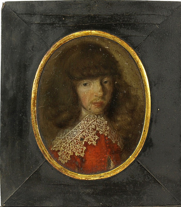 Follower of Samuel Cooper: Miniature portrait of a