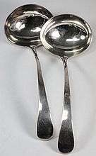 A pair of George III silver Old English sauce