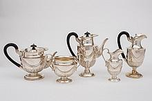 A late Victorian silver five- piece tea and coffee