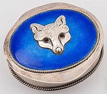 An Elizabeth II silver and enamel oval box, maker