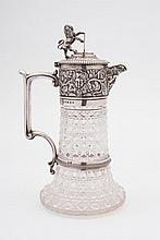 A Victorian silver mounted cut-glass claret jug,