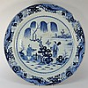 A large Chinese blue and white charger: painted