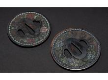 Ama burning sword cloisonne grid one pair