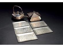 Japanese black lacquer silver-wrapped fruit boxes, sterling silver fruit dish even flagon of seven
