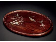 Rosewood inlaid with mother bamboo tea tray SPARROW